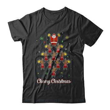 Cheery Christmas Funny Reindeer Santa Claus Cheerleader