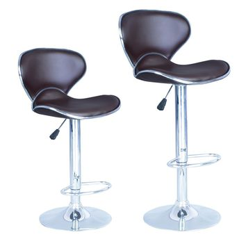 Brown Modern Adjustable Synthetic Leather Swivel Bar Stools Chairs B03-Sets of 2