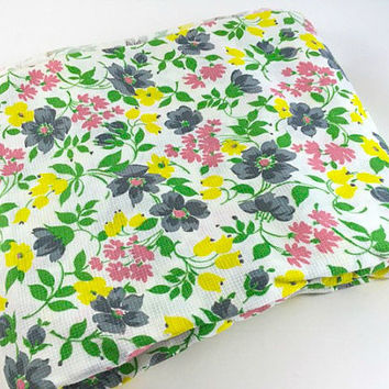 Vintage Flower Fabric Floral Fabric Yellow Flower Fabric Spring Fabric Lavender Green Pink Flower Fabric Floral Fabric Quilting Sewing Craft