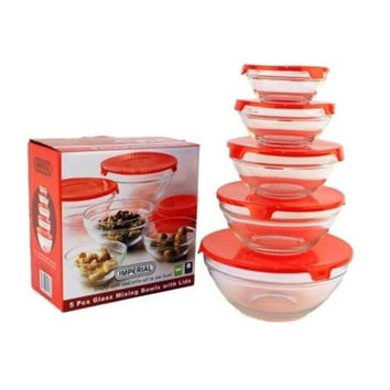 5pcs. Glass Mixing Bowl Set - Red