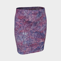 Purple swirls doodles Fitted Skirt Fitted Skirt