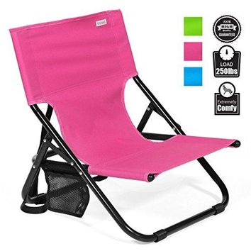 Low Profile chair,Folding Back Support Lawn Sitting Armless Compact Durable Lightweight Portable Fold up flat Outdoor Camping Beach for Concerts Sports Picnic for Adults Kids with Strap by Sheenive