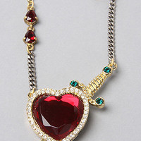 The Mixed Chain Red Stone Heart Necklace in Gold : Disney Couture Jewelry : karmaloop.com - Global Concrete Culture