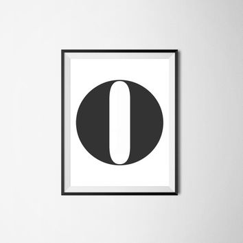 Letter O, 8x10 digital download, monogram, initial, black and white print, printable, poster, home decor, wall art, modern print, alphabet