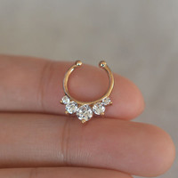 septum ring,non-piercing septum ring,diamond nose ring,nose ring