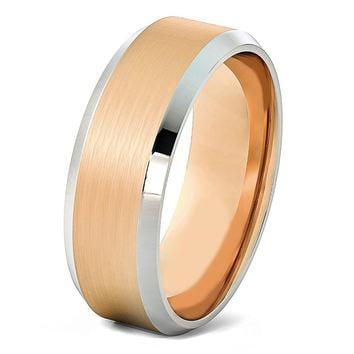 Mens Rose Gold Wedding Band 8mm Tungsten Carbide Brushed Man Engagement Ring Male Anniversary Promise Female His Hers Matching Polished Silver Beveled Edges