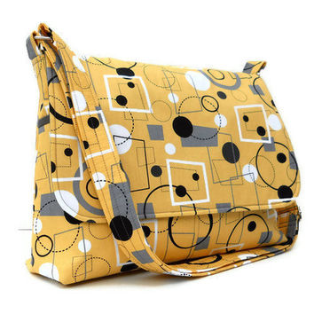 Fabric Messenger Bag - Retro 50's Print Geometric on Yellow - Larger with 8 Pockets