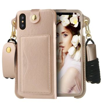 iPhone X Wallet Case, Welity Detachable Hanging Neck Strap Lanyard PU Leather Hanging Neck Strap Case Cover with Card Slots for Apple iPhone 10 / X (Luxury Gold)