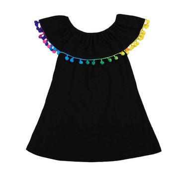 Kid Baby Girls Summer Tutu Dress Black Off Shoulder Dresses Girl Costume Tassel Princess Party Wedding Pageant Hot 1-6Year