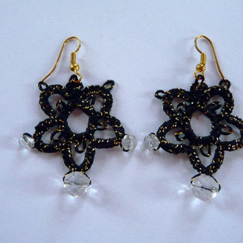 Tatted earrings black and gold with cristals - handmade earrings - Halloween - tatting shuttle - for women - gift for her- party cocktail