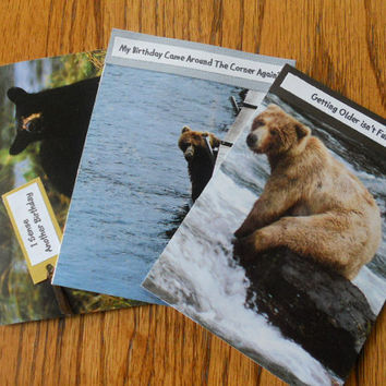 Handmade Blank Birthday Men Bear Greeting Cards- set of 3