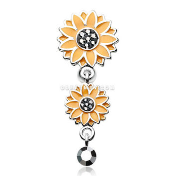 Beach Sunflower Reverse Belly Button Ring (Hematite)