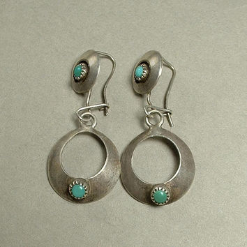 Old Pawn Antique Native American NAVAJO Turquoise EARRINGS Earring Hoop Drops EARWIRES Pierced Ears Sterling Silver