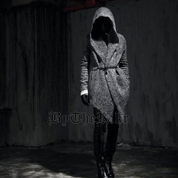 2016 Gothic Winter Fashion Slim Fit Dress Mens Pea Coat With Hood Wool Coat For Men Jackets And Coats Peacoat plus size SS-M50