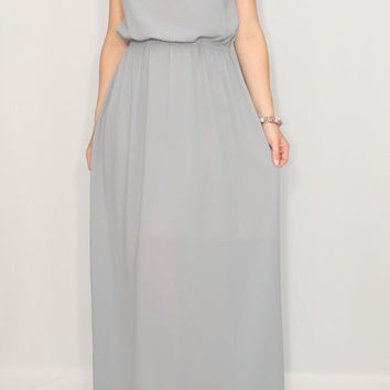 Light grey Bridesmaid dress Chiffon dress Prom dress