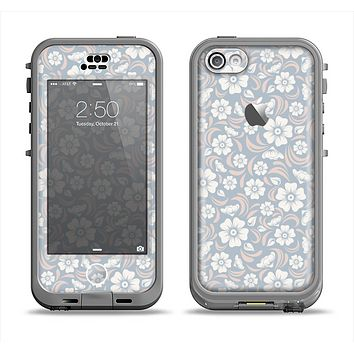 The Subtle White and Blue Floral Laced V32 Apple iPhone 5c LifeProof Nuud Case Skin Set