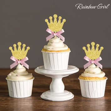 1st Birthday Princess Party Decorations Silver/Gold Glitter & Pink Bow Crown Cupcake Toppers Royal/Baby Shower Decor Food Picks