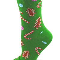 Green Holiday Cookies Christmas Socks