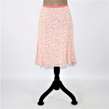 Pink Pastel Print Skirt Women Medium Midi Skirt Flared Skirt Boho Skirt Rayon Tencel Sigrid Olsen Vintage Clothing Womens Clothing