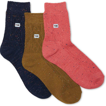 TOMS 3 Pack Cable Knit Ankle Socks