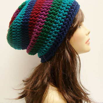 FREE SHIPPING - Unisex Slouchy Crochet Beanie Hat - Multi, Dark Rainbow, Maroon Red, Fuchsia Purple, Green, Teal Turquoise, Navy Blue