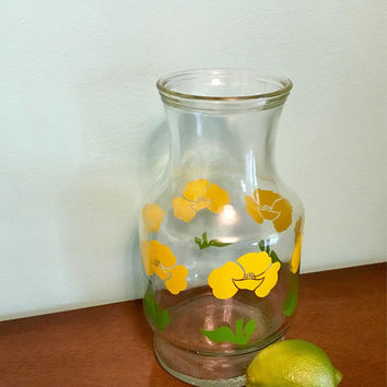 Yellow Poppy Juice Carafe, Anchor Hocking Orange Juice Carafe, Yellow Floral 60's Juice Pitcher, Groovy Yellow Flowers Juice Carafe