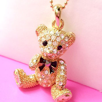 Gold Plated Crystal Lovely Teddy Bear Pendant Necklace