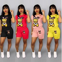 MOSCHINO Women Fashion Short Sleeve Top Shorts Two-Piece