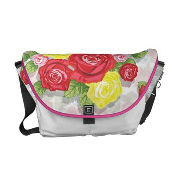 Colorful Roses Pattern Courier Bag