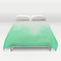 Out of focus - cool green Duvet Cover by Budi Satria Kwan