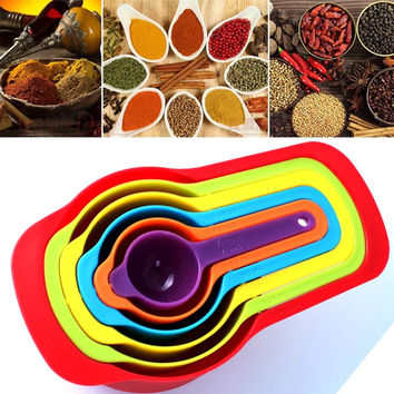 Newest 6Pcs Colorful Silicone Measuring Spoons DIY Spoon Cup Set For Kitchen Baking Utensil Tools
