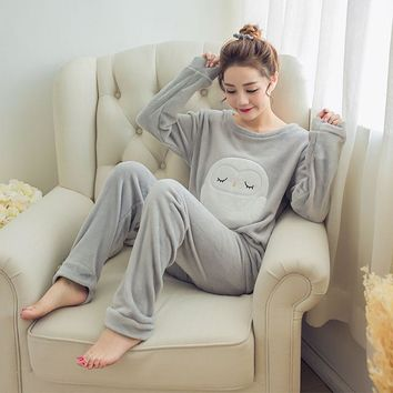 Autumn Winter Womens Pajama Sets Soft Thick Flannel Cartoon Owl O Neck Long Sleeve Pullover + Pants Warm Sleepwear Mujer Primark