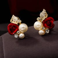 Charming Rose Pearl and Stone Studs - Save 54%!