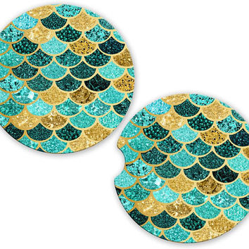 Mermaid Car Cup Coaster Teal Gold Mint Glitter Look Scales, Monogrammed Cup Holder, Custom Auto Gift, Sandstone Coaster, gift for her