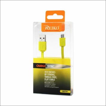 REIKO TANGLE FREE MICRO USB DATA CABLE 3.3FT IN YELLOW: Case Of 120