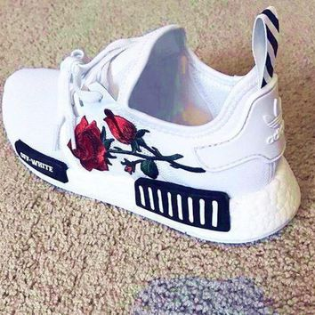 PEAPON Adidas: NMD OFF-WHITE Knit roses running shoes H