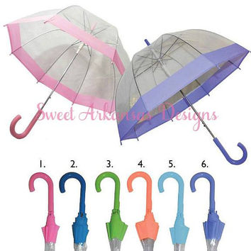 Monogrammed Umbrella Personalized Umbrella Clear Dome Umbrella Personalized Gift Bride to Be Wedding Day Umbrella Bridesmaid