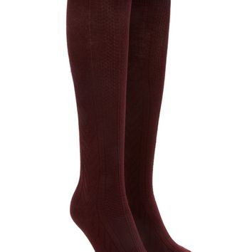 Pointelle Knit Knee High Socks