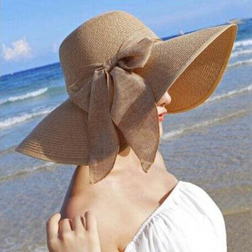 PEAP78W Beach Sun Hat Women Lady Big Bow Sun Straw Hat Wide Brim Sunhat Bohemia Cap