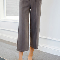 Gray High-Waist Ankle Pants