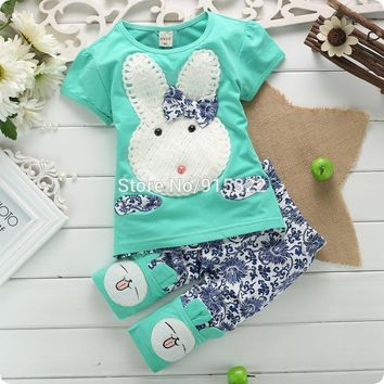 New 2PC Baby Kids Girls and Boys Toddlers Top+Short Pants Set Cute White Rabbit Clothes