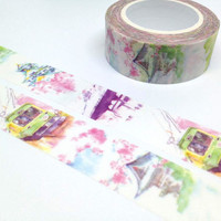 Japan landscape tape 10M japanese Temple Pagoda washi tape cable car Asian tower sticker tape fancy landscape decor travelling masking tape