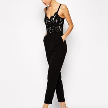 Warehouse Lace Bodice Jumpsuit - Black