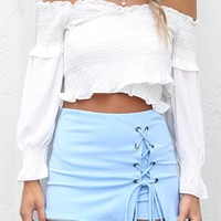 All Intertwined Blue Lace Up Skort