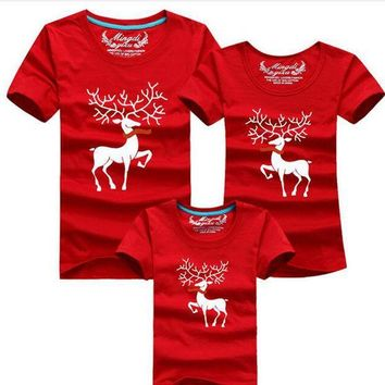 ESBONJ Christmas Family Look Family Matching Outfits T-shirt Color Milu Deer Matching Family Clothes Mother Father Baby Short Sleeve