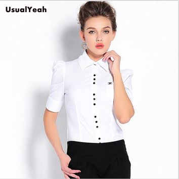 Plus size 2017 Women Fashion Summer Style Short Sleeve OL Formal Body Shirt Button Ladies Blouse Work wear White Red Blue S-XXXL