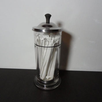 Vintage Clear Heavy Glass Soda Fountain Straw Dispenser - Diner Style