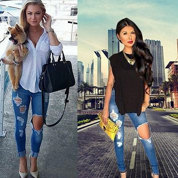 2016 New Ripped Jeans Women Denim Pants Holes High Waist Casual Trousers Pencil Pants Destroyed Torn Jeans for Women19
