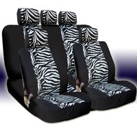 New and Unique YupbizAuto Brand Safari Zebra Print Universal Size Car Truck SUV Seat Covers Set High Quality Velour and Mesh Material Gift Set Smart Pocket Feature