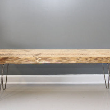 Thick Reclaimed  Wood Bench with Hairpin Legs, Handmade Furniture, DIning Bench,  Entry Bench